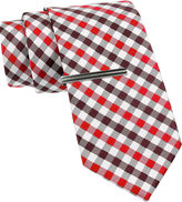 Jf J.Ferrar JF Gingham Tie and Tie Bar Set