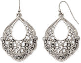Liz Claiborne Marcasite and Crystal Silver-Tone Open-Drop Earrings
