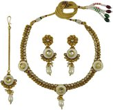 Matra 3 Pcs Goldtone Ethnic Indian Necklace Set Bollywood Women Wedding Bridal Jewelry
