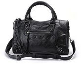 Gold-Tech New Women Leather Studed Motorcycle Bags 38cm Size Shoulder Bag 9 Colors