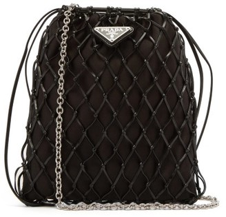 Prada Leather-netted Satin Cross-body Bag - Black
