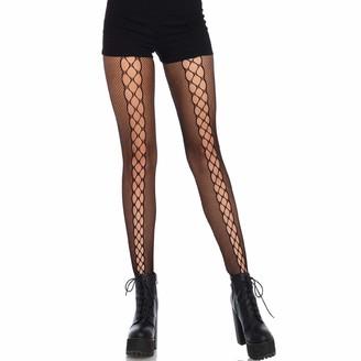 Leg Avenue Womens Micro Fishnet Lace-Up Illusion Tights