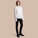 Burberry Unisex Double-cuff Pintuck Bib Cotton Shirt