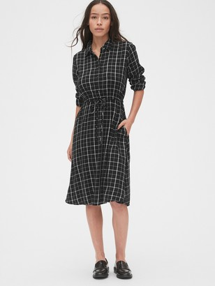 Gap Plaid Tie-Waist Shirtdress