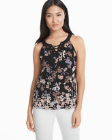 White House Black Market Lace Up Floral Shell