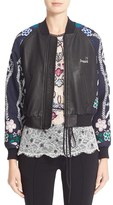 Yigal Azrouel Women's Jacquard & Leather Bomber Jacket