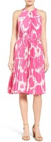 Vince Camuto Petite Women's Floral Print Pleat A-Line Dress