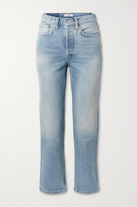 RE/DONE 70s Stove Pipe Cropped High-rise Straight-leg Jeans - Mid denim