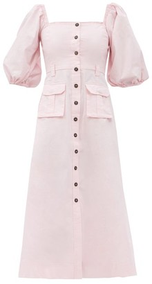 Ganni Puff-sleeved Cotton-blend Midi Dress - Light Pink