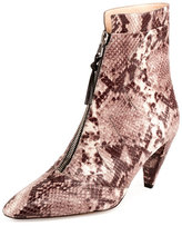 Altuzarra Fontana Snake-Print Zip-Front Ankle Boot, Natural