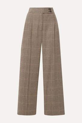 Nili Lotan Charlotte Prince Of Wales Checked Wool-blend Straight-leg Pants - Brown