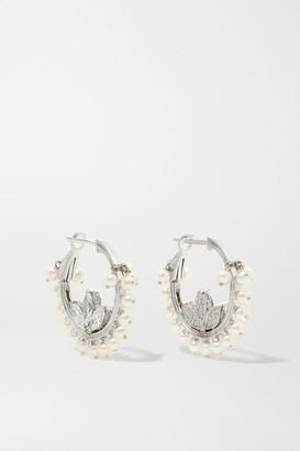Maria Tash Lotus 16mm 18-karat White Gold, Diamond And Pearl Hoop Earrings