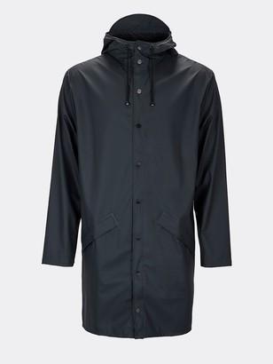 Rains Navy Blue Long Jacket - XXS/XS - Blue