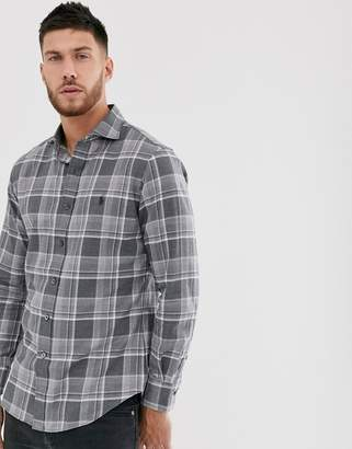 Polo Ralph Lauren slim fit shirt in grey check flannel with player logo