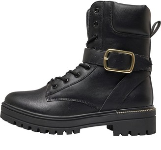 Truffle Collection Womens Darcey Buckle Boot Black Pu