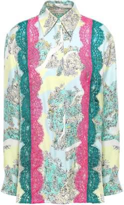 Emilio Pucci Lace-trimmed Floral-print Silk-twill Shirt