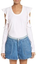 Opening Ceremony Women's Stripe Cold Shoulder Tee