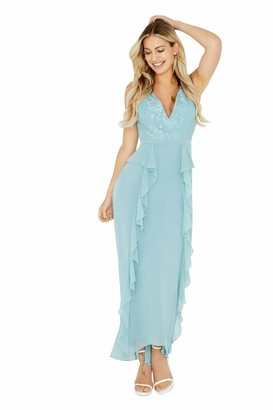 Little Mistress Clarita Blue Plunge Maxi Dress with Lace 10 UK Glacier