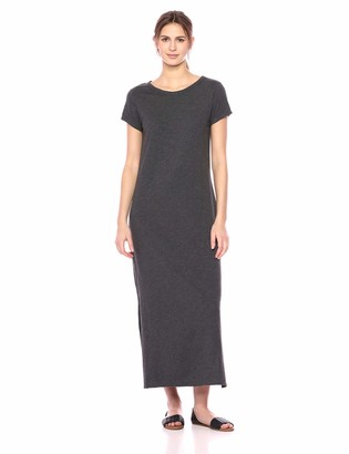 Daily Ritual Amazon Brand Women's Lived-in Cotton Short-Sleeve Crewneck Maxi Dress