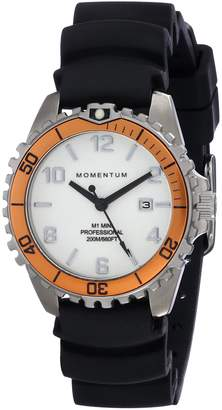 Momentum Womens Quartz Watch | M1 Mini by | Stainless Steel Watches for Women | Dive Watch with Japanese Movement & Analog Display | Water Resistant Ladies Watch with Date - White/Orange Rubber