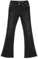 7 For All Mankind Girls' Ginger Bootcut Jeans in Destroyed Black - Sizes 7-14