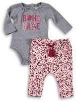 Jessica Simpson 2-Piece Screenprint Bodysuit and Pant Set