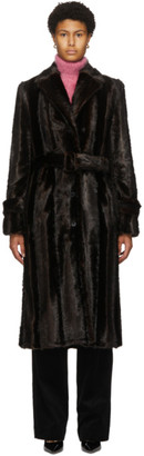 Commission Brown Faux-Fur Trench Coat