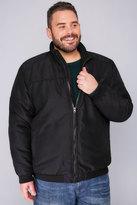 Yours Clothing BadRhino Black Zip Up Padded Bomber Jacket