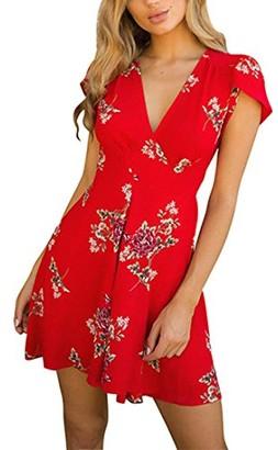 DEELIN Fashion Womens V Neck Flowers Boho Mini Dress Sexy Lady Slim Beach Summer Sundrss Maxi Dress(Short-Red XL)