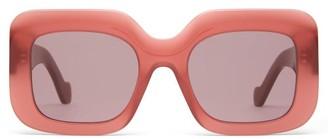 Loewe Anagram-logo Square Acetate Sunglasses - Womens - Red