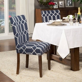 HomePop Classic Parsons Dining Chair - Navy Blue Cream Lattice