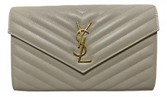 Saint Laurent Portefeuille enveloppe White Leather Handbags
