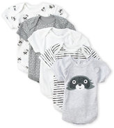 Rene Rofe Newborn/Infant Boys) 5-Pack Raccoon Bodysuits