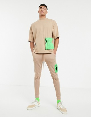 Asos Design DESIGN co-ord oversized t-shirt with half sleeve and neon utility pocket-Beige