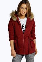 Boohoo Petite Jenny Parka Coat burgundy