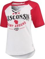 Unbranded Women's Pressbox White/Red Wisconsin Badgers Abbie Criss-Cross Raglan Choker T-Shirt