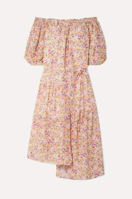 Apiece Apart Sandrine Off-the-shoulder Floral-print Cotton And Silk-blend Voile Midi Dress - Pastel pink