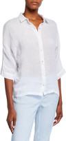120% Lino 3/4-Sleeve Jersey Back Collared Linen Shirt