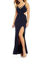 Jodi Kristopher X-Front Cutout Sides Long Dress