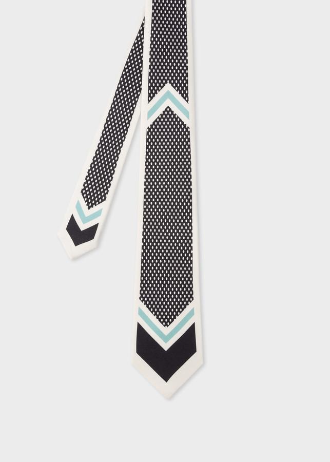 Paul Smith Men's Chevron-Dot Print Silk Tie