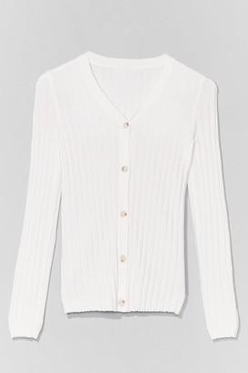 Nasty Gal Womens Seasons Change Ribbed Knit Cardigan - Black - L