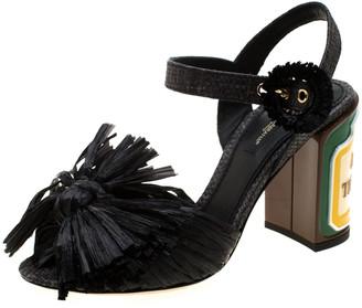 Dolce & Gabbana Black Raffia Keira Ankle Strap Sandals Size 36