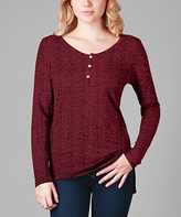 Aster Burgundy Henley Tunic - Plus Too