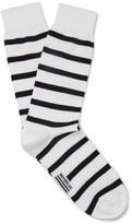 Armor Lux Striped Stretch Cotton-blend Socks - White