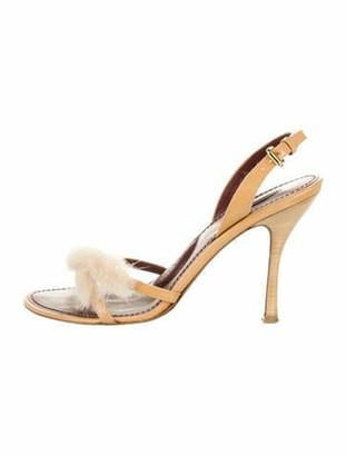 Louis Vuitton Patent Leather Fur Trim Slingback Sandals Yellow