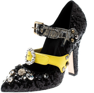 Dolce & Gabbana Black Sequins Embellished Buckle Strap Crystals Mary Jane Pumps Size 39