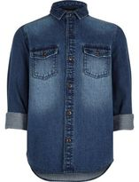 River Island Boys mid blue wash denim shirt