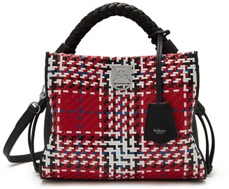 Mulberry Small Iris Scarlet Large Tartan Woven Leather Check