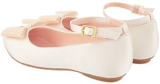Monsoon Girls Pearl Bow Satin Ballerina Shoe - Champagne