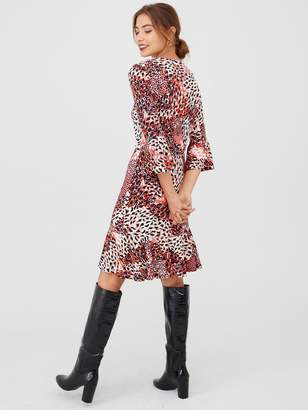 Very Animal Print Flute Sleeve Dress - Red